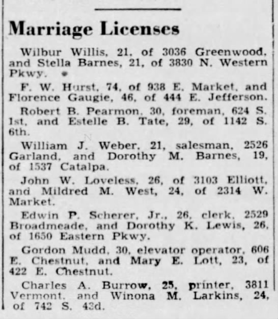 The Courier Journal, 21 Feb 1939, Tue, PG# 16. Gordon Mudd & Mary Lott - Marriage Licenses Wilbur Willis. 21. of 3036...