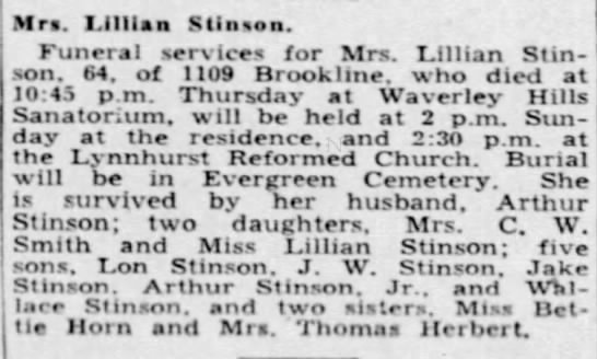 Obit of Lillian Horn Stinson, 1938 - Mrs. Lilllaa Stinaon. Funeral services for Mrs....