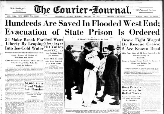 Great Flood of 1937 headlines - 1 ' WH AS Page 5 Section 2 wttffff A 1 58 Pages...
