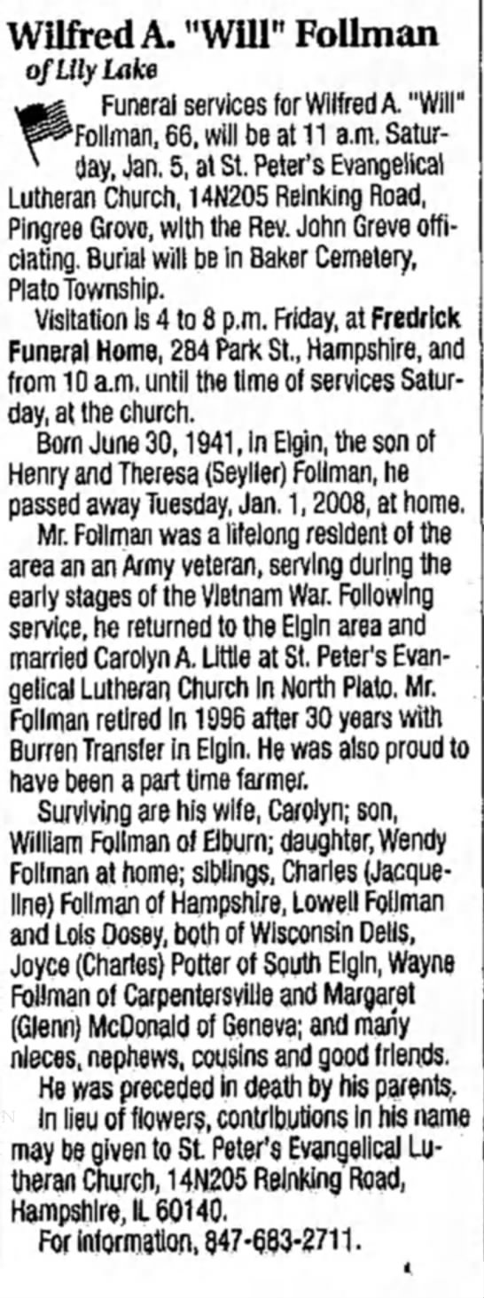 """Wilfred A. Follman Obituary - Wilfred A. """"Will"""" Tollman of Lily Lake ^..."""