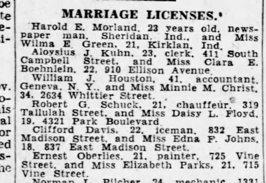 """vance - be MARRIAGE LICENSES. """"Harold E. Morland. 23..."""