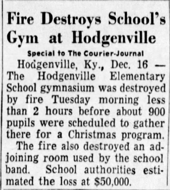 1958 December 17 - Fire Destroys School's Gym at Hodgenville...