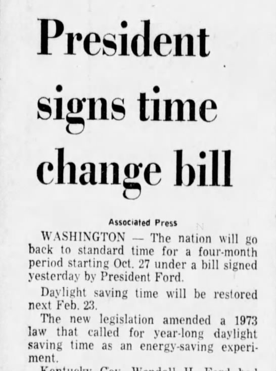 Year-round daylight saving time is eliminated - President signs time change bill Associated...