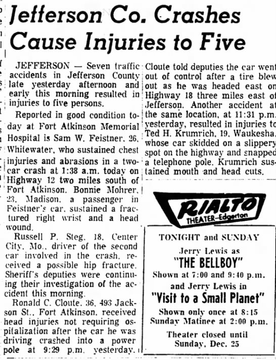 Ted 1966 accident - /e/f erSOH CO. CfOSheS Cause Injuries to Five...