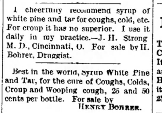 Henry Bohrer druggist add 23 Apr 1890 Piqua Ohio Findlay - 1 cheerruiiy lecommena syrup of white pine and...