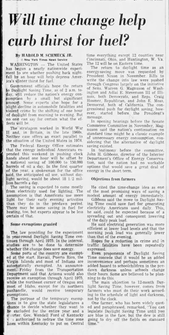 Year-round daylight saving time begins, 1974 - Will time change help curb thirst for fuel? By...