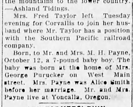 Who is M. H. Payne and Alice Smith - country. Ashland Tidings. Mrs. Fred Taylor left...