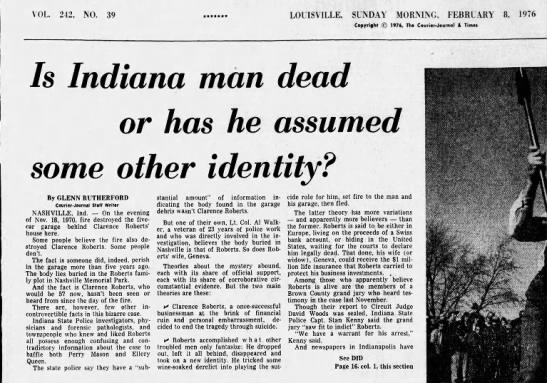 Is Indiana man dead or has he assumed some other identity? - VOL 242, NO. 39 LOUISVILLE, SUNDAY MORMNG,...