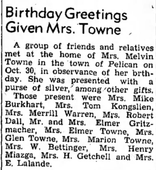Melissa Towne birthday 1951 - Birthday Greetings Given Mrs. Towne , A group...