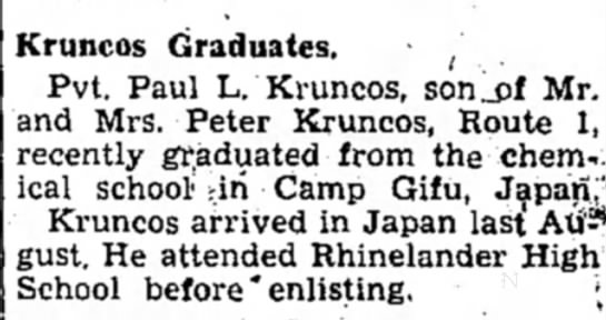 Uncle Paul graduates school - Kruncos Graduates. , Pvt. Paul L. Kruncos,...