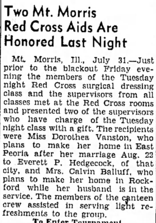 Mrs. Calvin Balluff - Two Mt. Morris led Cross Aids Are Honored Last...