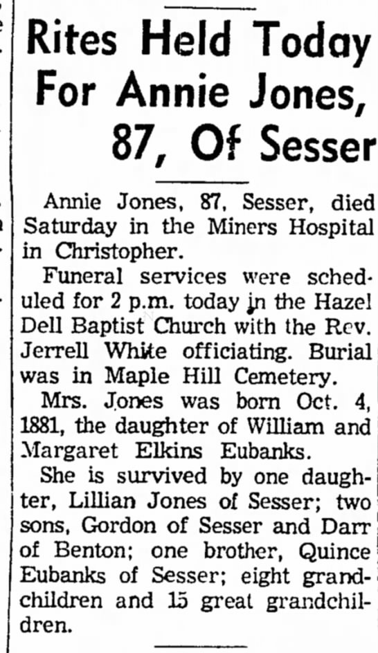 - Rites Held Today For Annie Jones, 87, Of Sesser...