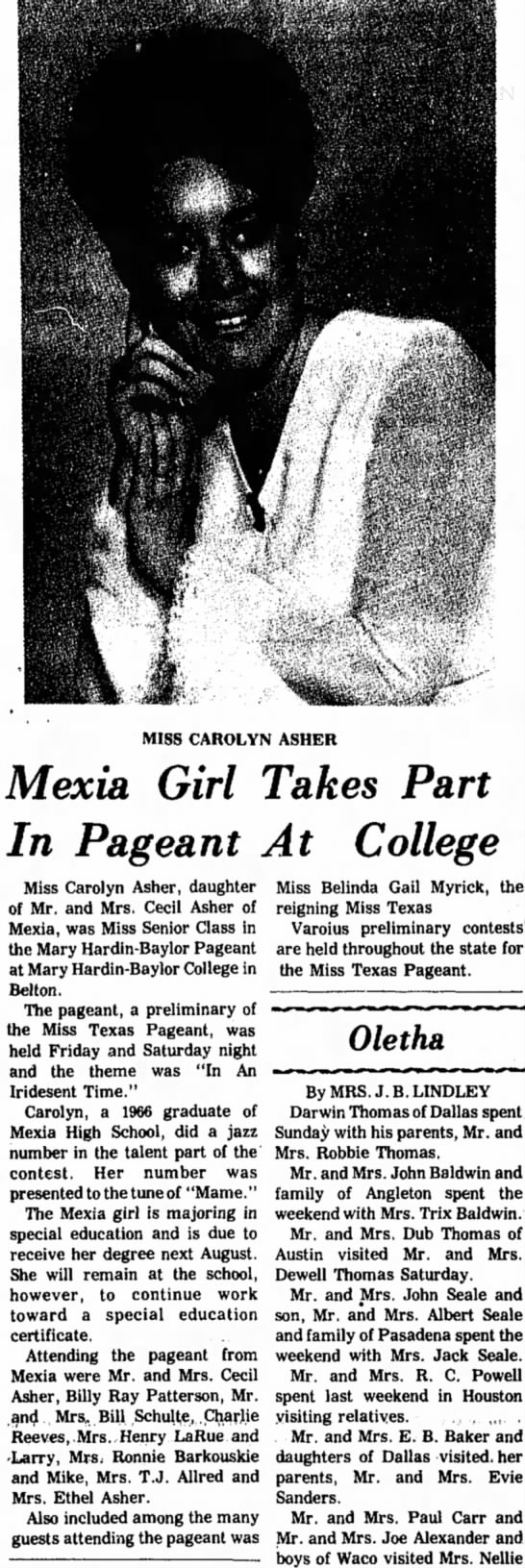 - MISS CAROLYN ASHER Mexia Girl Takes Part In...