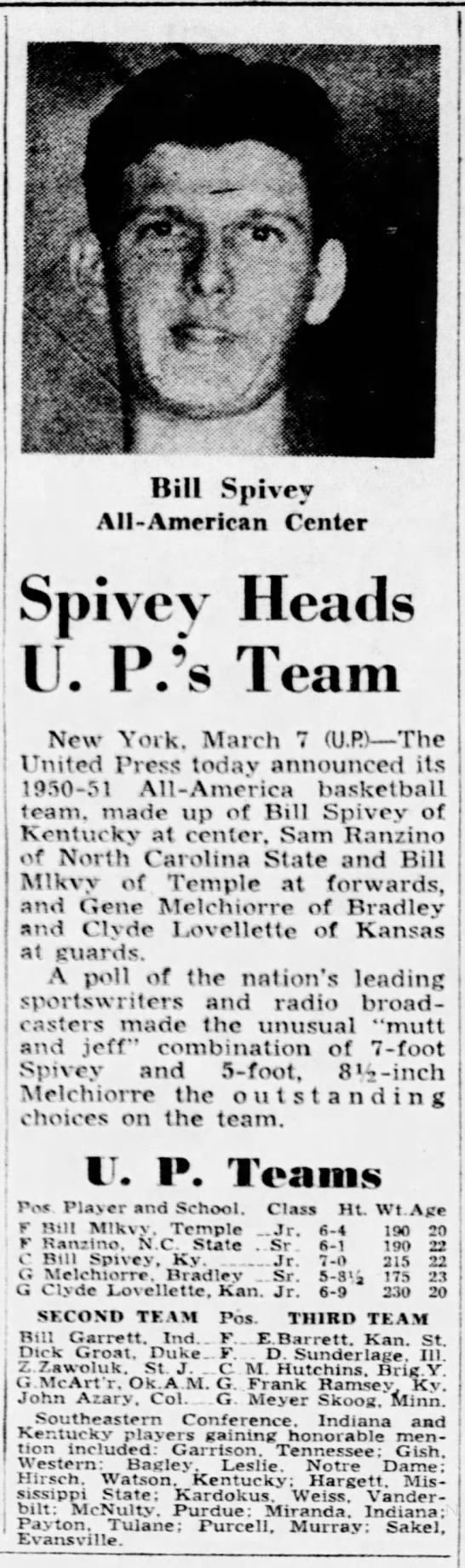 1951 UP All-Americans Bennie Purcell, Honorable Mention - hi? l ..a Bill Spivey All-American All-American...