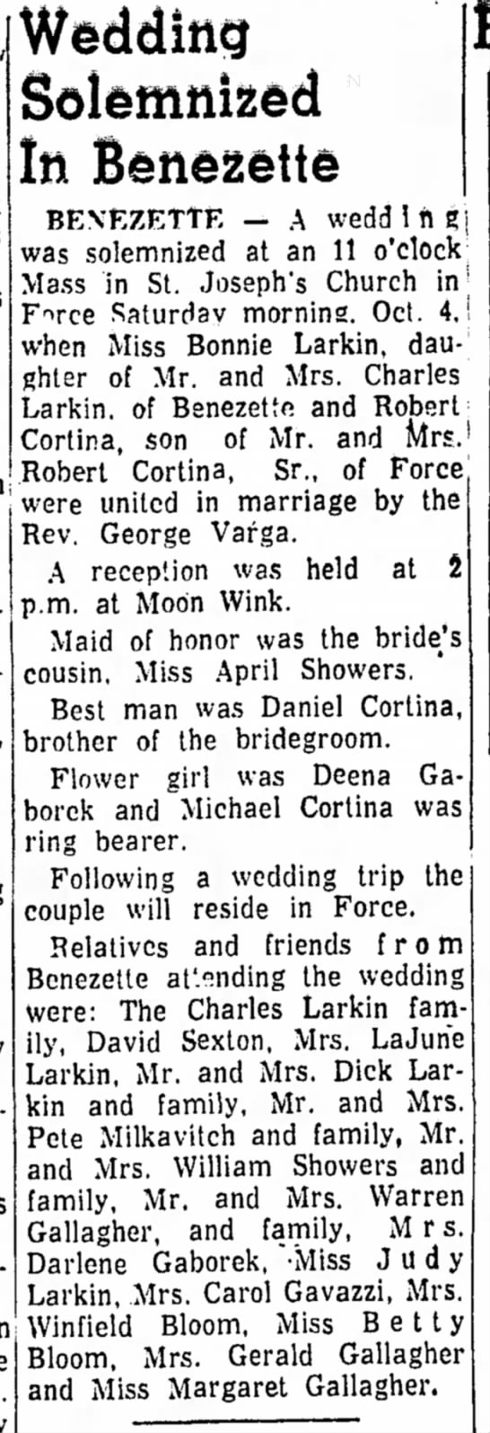 Bonnie Larkin Wedding daughter of Charles Larkin - Wedding Solemnized In Benezette BENEZETTE — A...
