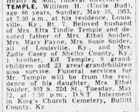 Temple, william h - TEMPLE, William H. (Uncle Hud), age 86 years,...