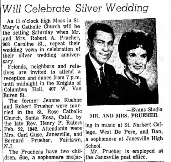 Jeanne Prueher Anniversary - Will Celebrate Silver Wedding An 1.1 o'clock...