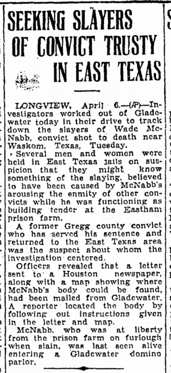 CorsicanaDailySun_6Apr1934 - SEEKING SLAYERS OF CONVICT TRUSTY ** IN EAST...