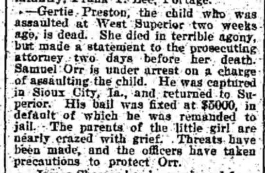 Jan 26, 1895 - -—Gertie Preston, the child wfto was assaulted...