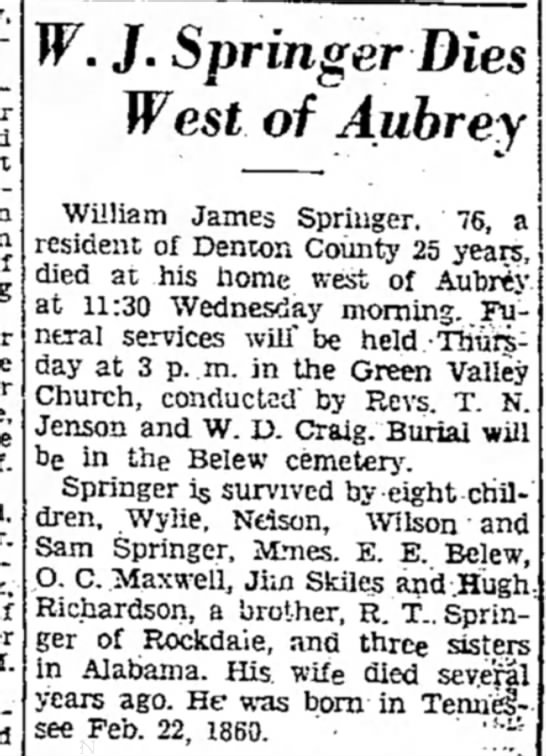 William James Springer dies in April 1936 - W. J. Springer Dies West of Aubrey William...