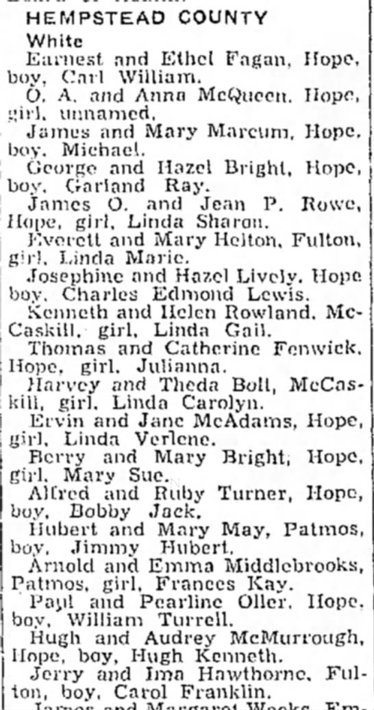 Jerry and Ima Hawthorne 22 Dec 1948 p3 Hope Star - HEMPSTEAD COUNTY White Earnest and Ethel Fagan,...