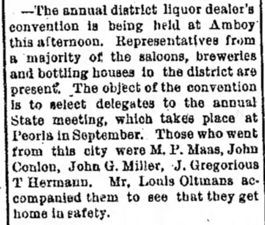 julius gregorious liquor convention jul 1889 - —The annual district liquor dealer's convention...