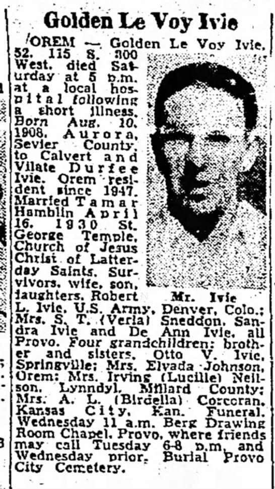 The Salt Lake Tribune (Salt Lake City, Utah) August 15 1960 (Golden Ivie Obit) - Golden LeVoylvie - G ° dcn Le Vov lvle West,...