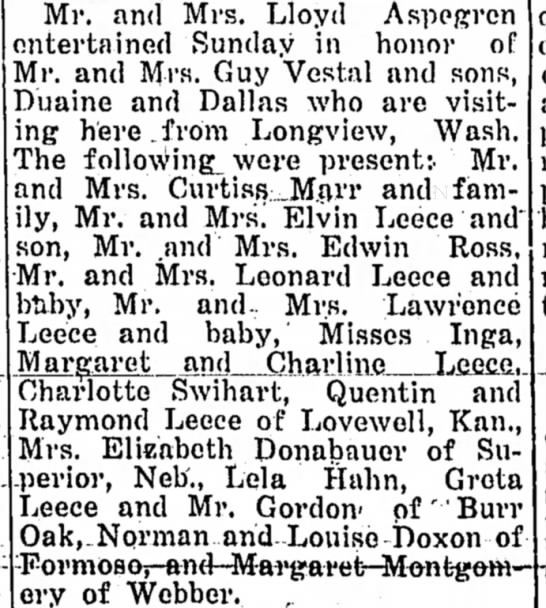 Vestal's visiting from Longview, WA. - Mr. and Mrs. Lloyd Aspegrcn entertained Sunday...