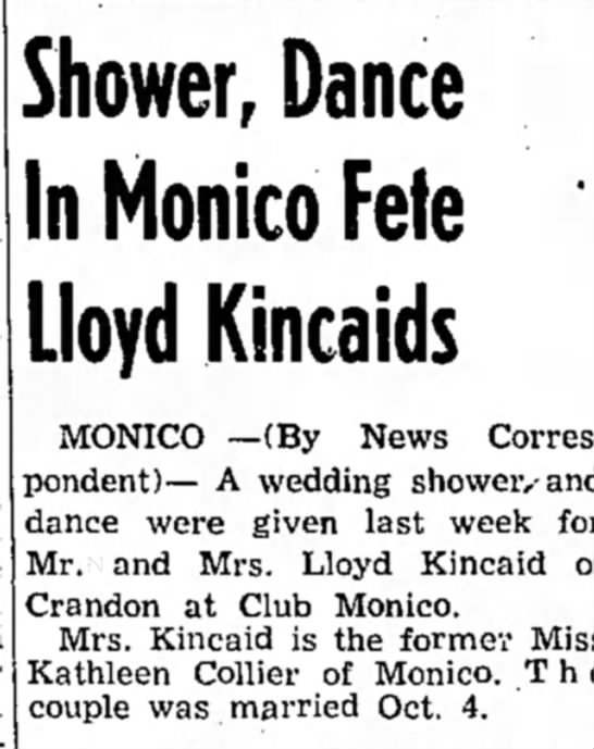 Kincaid shower and dance! - Shower, Dance In Monico Fete Lloyd Kincaids...