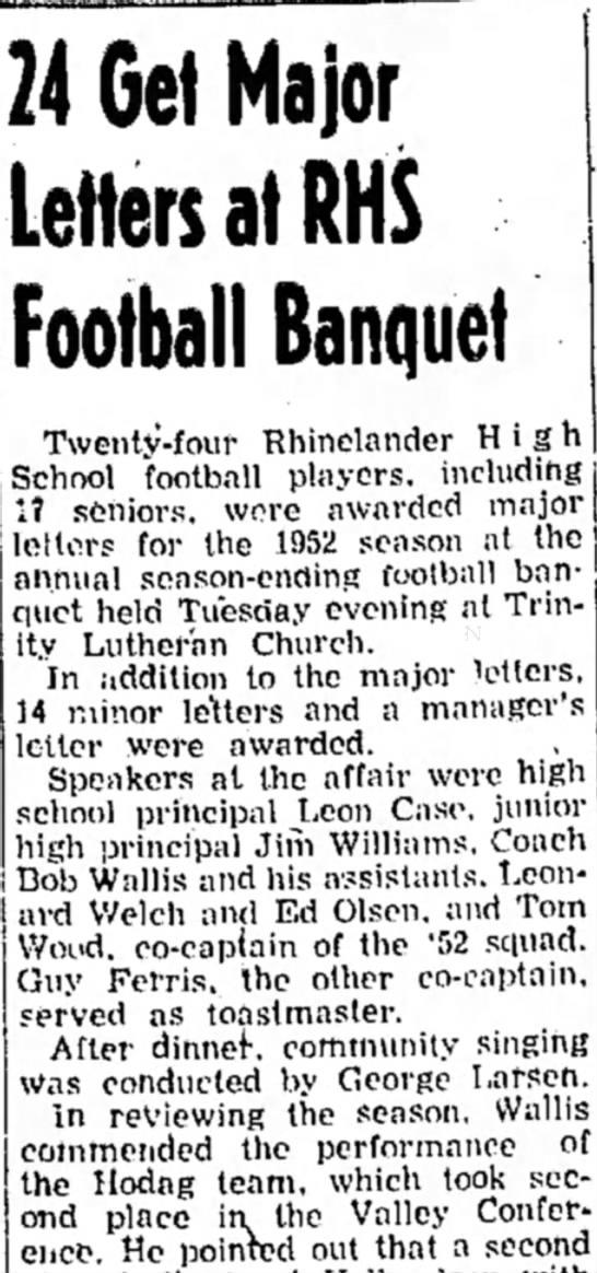 1952 football - 24 Get Major Letters at RHS Football Banquet...