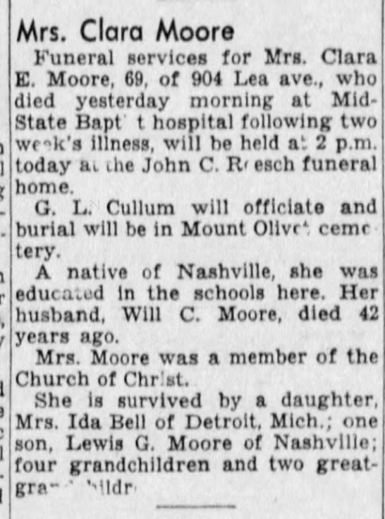 Clara E Moore - Obituary - Mrs. Clara Moore Funeral services for Mrs....