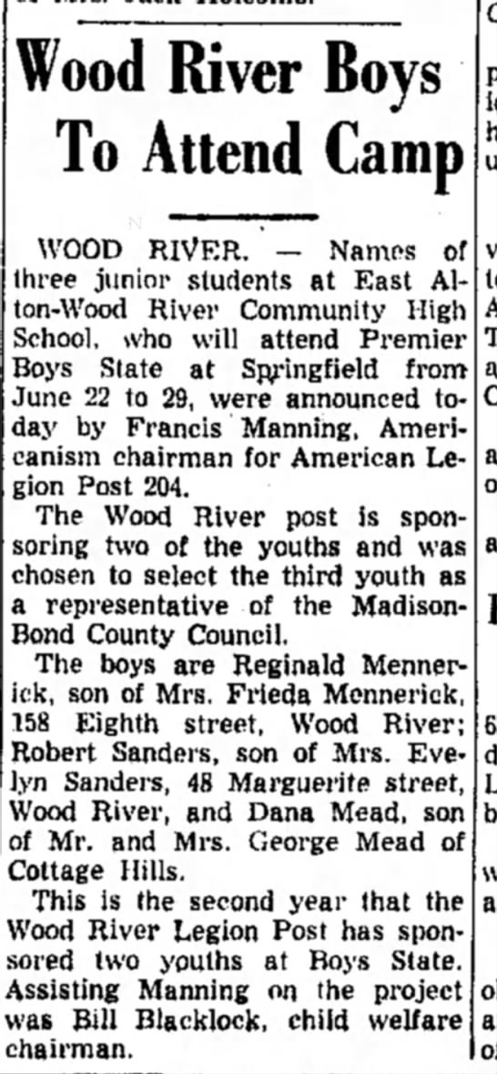 F Manning - Wood River Boys To Attend Camp WOOD RIVER. —...