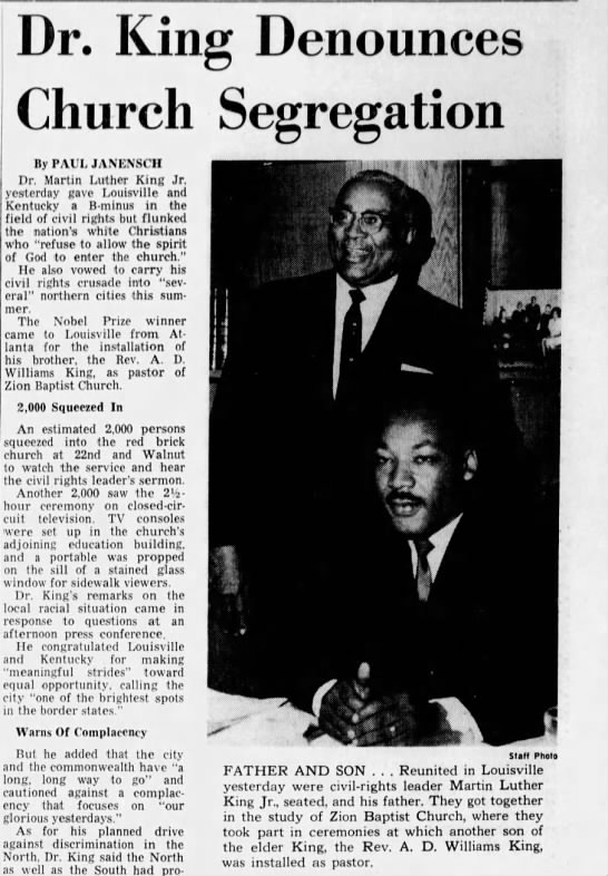 A. D. Williams King installation - Dr. King Denounces Church Segregation By PAUL...