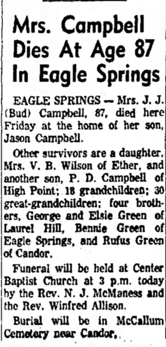 The High Point Enterprise (High Point, North Carolina)  28 February 1960  Page 12 - Mrs. Campbell Dies At Age 87 In Eagle Springs...