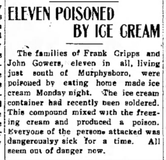 frank cripps 30 jul 14 pg 1 cdale free press - ELEVEN POISONED BY ICE CREAM The families of...