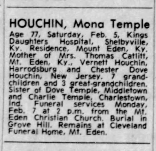 Temple mona houchin obit - HOUCHIN, Mono Temple Age 77, Saturday, Feb. 5,...