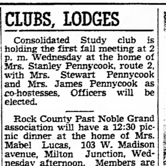 19 Sep 1949Anna Pennycook - CLITBS, LODGES Consolidated Study club is...