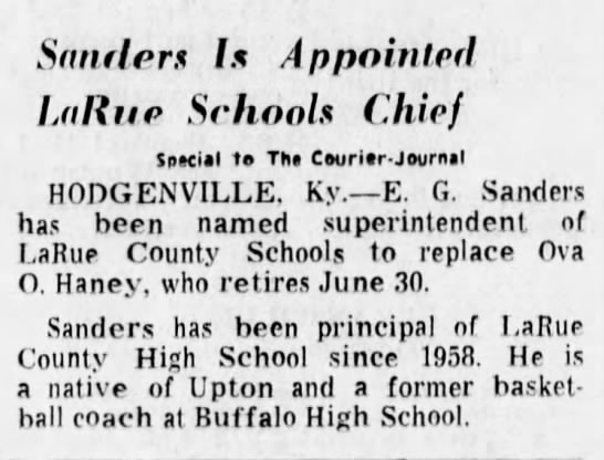 EG Sanders - Appointed - Sftndors Is Appointed Lallue Schools Chief...