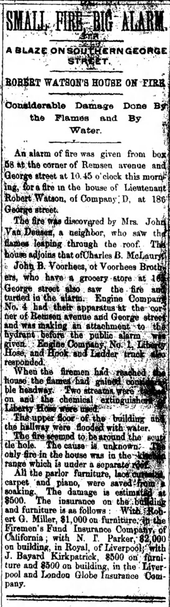John Voorhees, grocery - turns in alarm for fire along with others - An alarm of fire was given from i8 ftfe the...