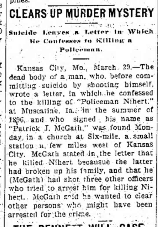 Patrick J McGath Kill self - CLEARS UP MURDER MYSTERY Siilelile Letter In.-...