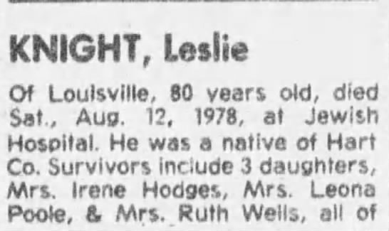 Knight Leslie 1 - KNIGHT, Leslie Of Louisville, 80 years old,...