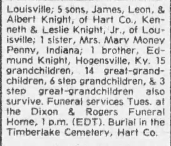 Knight Leslie 2 - Louisville; 5 sons, James, Leon, & Albert...