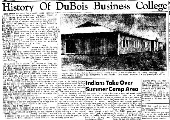 DuBois Business College - History Of DuBois Business College '- '— ! -...