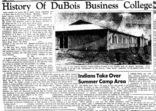 History of DuBois Business College, 1970 - History Of DuBois Business College '- '— ! -...