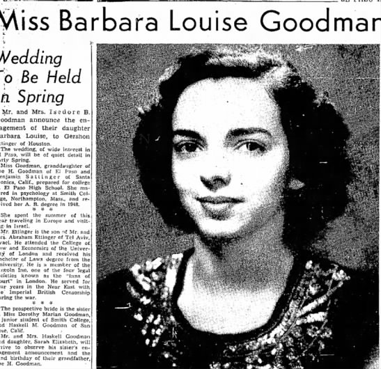 "Barbara Goodman Ettinger Wedding - iss Barbara Louise Goodman Wedding ""p Be Held..."
