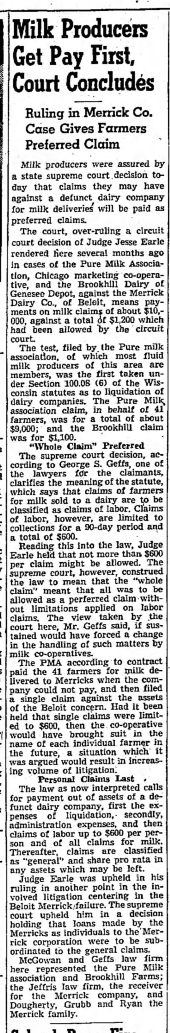 Merrick Dairy 22 Oct 1946 - Milk Producers Get Pay First, Court Concludes...
