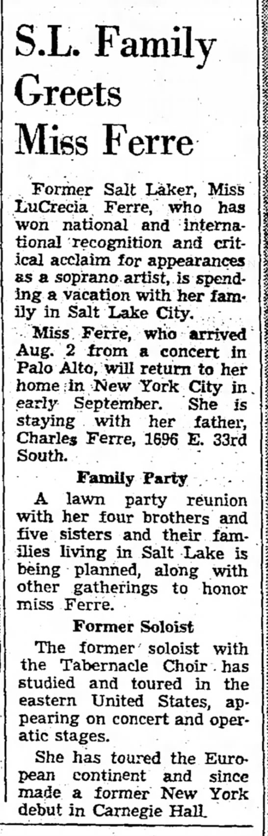11 Aug 1960 - S.L. Family Greets Miss Ferre Former Salt...