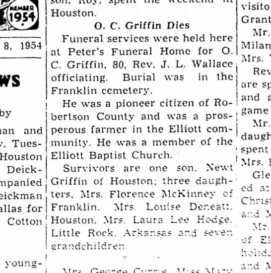 OscarCGriffinObit - Houston. O. C. Griffin Dies Funeral services...