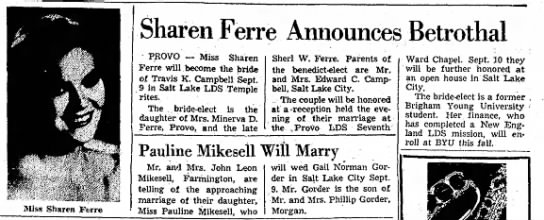 14 August 1960 Sharon Ferre - >Iiss Sharen Ferre Sharen Ferre Announces...