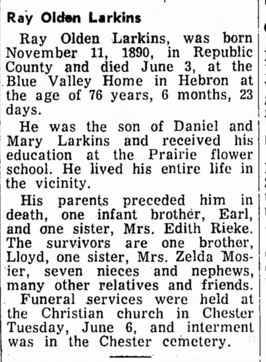 - Ray Olden Larkins Ray Olden Larkins, was born...
